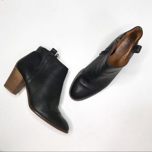 Madewell Billie Black Leather Stacked Ankle Boots